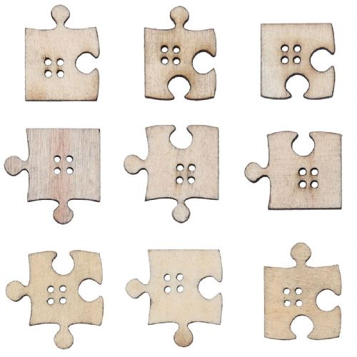 "25	Natural Wood Buttons 4 Holes Mixed Puzzle (1 1/8"" x1"")-21x20mm"